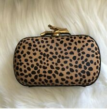 DVF Diane von Furstenberg Mimosa Calf Hair Lytton Clutch Small Brown Convertible