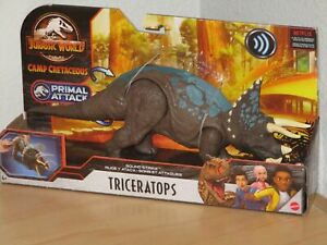 Jurassic World Triceratops Dinosaur Action Figure Sound Strike Primal Attack New