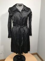 Antonio Melani Womens Black Button Down Trench Coat With Belt Size 12
