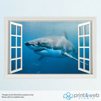 Cool Great White Shark 3D Window View Decal Wall Sticker Home Decor Art Mural