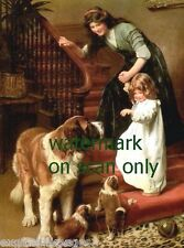 c1900~Girl Says Goodnight to Saint Bernard Dog & Her Puppies~New Lge Note Cards