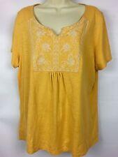 ST. JOHN'S Bay Women's Tunic Peasant Shirt Embroidered Yellow Plus Size 1X