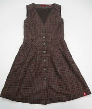 EDC #DR793 Women's Size 4 Button Down V-neck Plaid Brown Skater A-line Dress