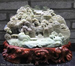 Chinese Dushan Jade Lofty Mountains And Flowing Water Stream Landscape Statue