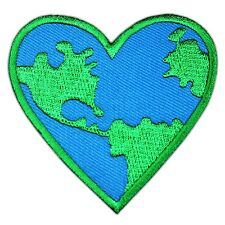 Love Earth Heart Map World Embroidered Patch Iron On Save the Energy Nature Logo