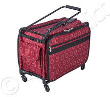 """Tutto Tote on Wheels Large, 22"""" - Red Dotted Design - Sewing Machine Case Bag"""