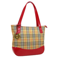 BURBERRY'S House Check Hand Tote Bag Purse Beige Red Canvas Leather 31454