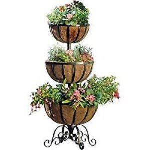 New 3 Tier Basket Stand Garden Stylish Metal Outdoor Flower Planter Decoration