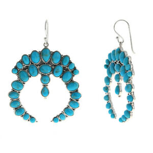 925 Sterling Silver Extra Large Genuine Turquoise Crescent Moon Earrings 40mm
