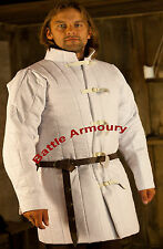 Medieval thick padded White Gambeson coat Aketon Jacket Armor reenactment SCA
