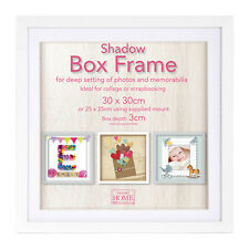 30cm Square White Wooden Deep Shadow Box 3D Photo Picture Frame Scrabble Display