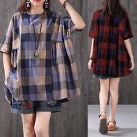 ZANZEA Women's Short Sleeve Summer T-Shirt Tops Plaid Check Oversize Blouse Tee