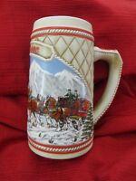 "Budweiser Holiday Beer Stein 1985 ""A"" Series Clydesdale Anheuser Busch Mug"