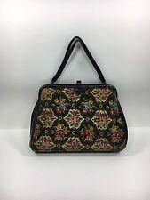 Vtg Purse Handbag Floral Tapestry Black Patent Faux Leather Carpet Bag
