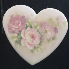 Modern Porcelain Heart w/Roses Button