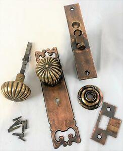 Antique Bronze Corbin Colonial Door Hardware Entry Set c1890s Restored