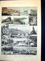 Antique Old Print Newquay Cornwall Fish Cellars Harbour Queen Bess Rock 1891