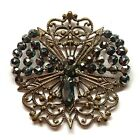 Antique Button ~ Stunning Openwork Brass with Steel Butterfly / Dragonfly Insect
