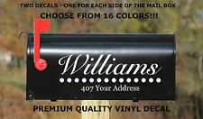 CUSTOM PERSONALIZED VINYL MAILBOX DECAL #5 - SET OF 2 - 16 COLOR CHOICES  4X11