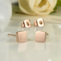 Simple Smooth Square Rose Gold GP Surgical Stainless Steel Stud Earrings Gift