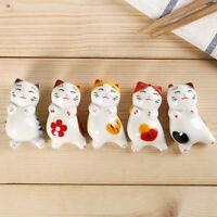 5pcs Japanese Ceramic Maneki-neko Cat Kitten Chopsticks Spoon Knife Fork Rests