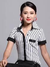 Short Sleeve Blouse Black White Stripe Bodysuit Shirt