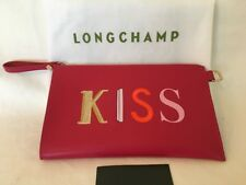 New Longchamp KISS & LOVE KISS ME FUCHSIA LEATHER WRISTLET POUCH BAG