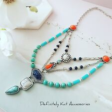 Boho beach style orange blue & turquoise crystal stone statement collar necklace