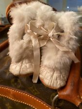 ANTIQUE VICTORIAN QUILTED  w/ RABBIT FUR trim BOOTS Baby doll or infant Shoes
