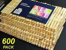 Bulk 600 Pack x Wooden Clothes Pegs - 7cm Normal Size - Timber Wood Pine