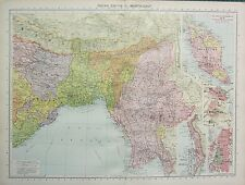 1934 LARGE MAP ~ INDIAN EMPIRE NORTH-EAST INDIA ~ ENVIRONS OF CALCUTTA DELHI