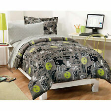 SKATEBOARD & SKULLS, BOYS FULL COMFORTER SET,  7 PIECE BED IN A BAG