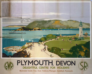 Plymouth (old rail ad.) mounted print    (se) REDUCED TO CLEAR