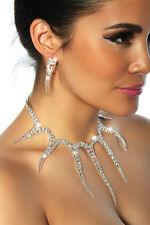 Halskette Collier Strass Ohrringe Schmuckset Schmuck Braut Hochzeit Silber