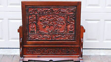 """ANTIQUE 19C CHINESE ROSEWOOD HAND CARVED TABLE SCREEN PLAQUE""""VASES,BIRDS,FLOWERS"""