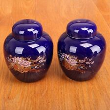 2 Vintage Ginger Jar Blue Flowers & Cart Taiwan
