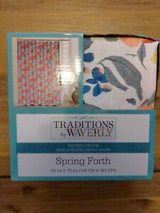 Waverly Spring Forth Shower Curtain with 12 beaded metal Hooks NIP Floral