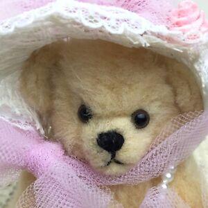 Vintage Miniature Artist Teddy Bear in a Bonnet #8 Bev Miller 1990 Convention