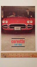 "1962 CORVETTE- ""Corvette for '62"" Color Dealer Sales Catalog Brochure - E (USA)"