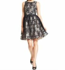 Jessica Howard Dress Sz 14 Black Tan Lace Sleeveless Belted Evening Cocktail
