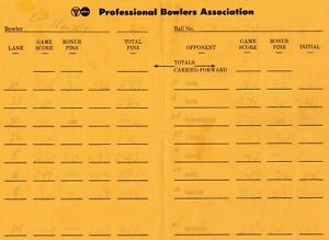 PROFESSIONAL BOWLERS ASSOC 1980'S MATCH PLAY SCORE SHEET EARL ANTHONY ROTH