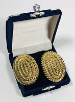Huge Vintage Clip On Statement Earrings Gold Tone Coiled Rope 80s Power Dressing