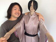 Japanese silk kimono for women, light lavender colour, bamboo, amazing c.(G349)