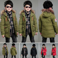 Winter Kids Boys Hooded Puffer Coat Warm Jacket Outerwear Overcoat Age 6-17Y