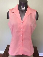 Jones New York Non Iron Orange Sleeveless Button Down Cotton Shirt Size L