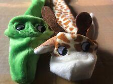 Stuffing Free Dog Toys Set Of 2 Alligator Giraffe Plush New