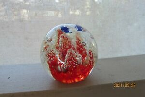 Beautiful Red with Blue Dolphins Glass Paper Weight