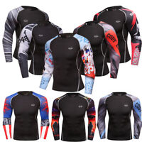 Men's Compression Tops Athletic Stretchy Gym Quick dry Long Sleeved T Shirts