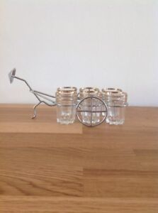 Vintage Retro Shot Glasses And Holder Rickshaw Chinese Metal Mid Century