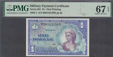 US MPC 1 Dollar Notes Series 661 Super Gem UNC PMG 67EPQ